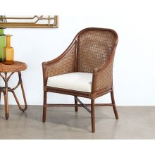 Warm Brown Rattan Woven Arm Chair