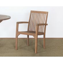 Weathered Teak Slatback Arm Chair
