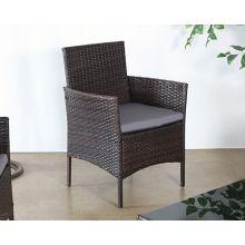 Dark Wicker Armchair With Medium Grey Cushion