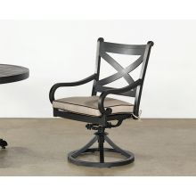 Black Metal Patio Arm Chair With Swivel Base