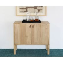 Poplar Bar Cabinet With Iron And Leather Pulls