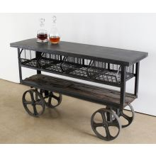 Steel Industrial Bar Cart with Cast Iron Wheels