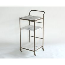Antique Brass and White Marble Bar Cart