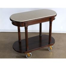 Mahogany Room Service Cart with Travertine Top