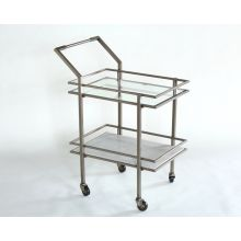 Antique Pewter and White Marble Bar Cart