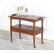 Mid-Century Walnut Serving Cart, Vintage 1950's