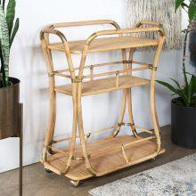 Rattan Bar Cart With Brass Accents & Cane Woven Shelf