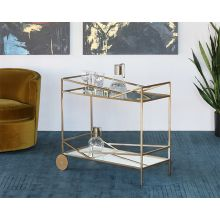 Angled Brass Bar Cart With Silver Mirrored Shelves