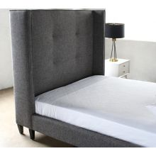 Wingback Upholstered Queen Bed in Charcoal