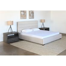 Conny King Bed in Cream Upholstery