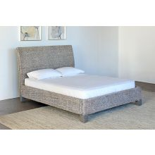 Woven Grass Queen Bed in Gray Wash