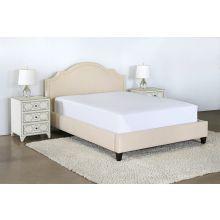 Upholstered Queen Bed in Linato Cream