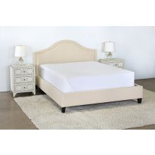 Flared Queen Bed in Linato Cream