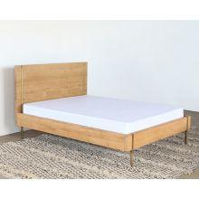 Danish Modern Natural Oak Queen Bed With Brass Legs