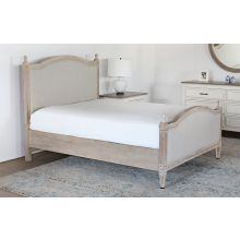 Washed Elm Bed With Upholstered Headboard