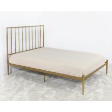 Queen Metal Bed In Flat Gold Finish