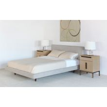 Clay Taupe Linen Queen Bed