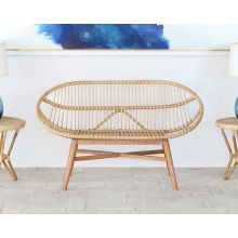 Woven Natural Rattan Bench