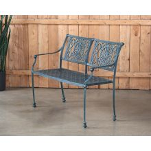 Cast Iron Garden Bench W/ Verdigris Patina