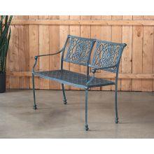 Cast Iron Garden Bench W/ Verdigris Patina