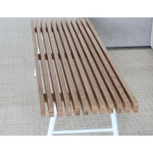 Modern Blonde Wood Slatted Bench With White Base