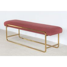Light Maroon Bullnose Bench With Brass Base