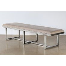 Distressed Grey Metal Upholstered Bench
