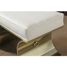 Jet Set Vanity Bench in White Leather with Brass Base