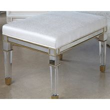 Acrylic and Nickel Vanity Bench With Cream Upholstery