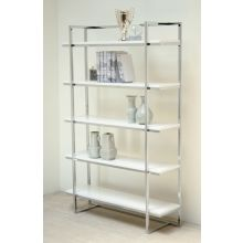 Gloss White and Chrome Bookcase