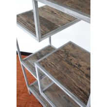 Antiqued Steel Bookcase with Reclaimed Elm Shelves