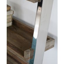 Reclaimed Wood and Stainless Steel Leaning Bookcase