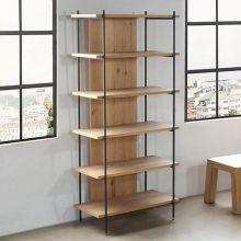 Light Oak And Iron Bookcase