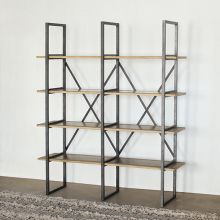 Modern Industrial Double Bookcase