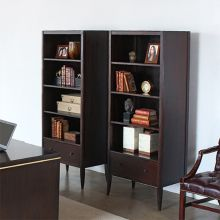 Brown 4-Shelf Bookcase with Drawer