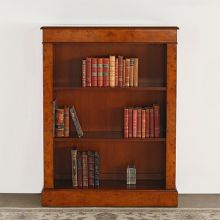 Burled Wood Bookcase With Three Shelves