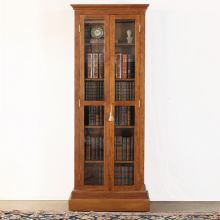 Oak Bookcase With Glass Pane Doors