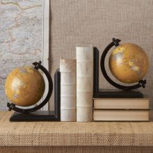 Pair of Decorative Globe Bookends - Cleared Décor