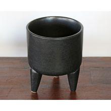 Large Ceramic Black Tripod Bowl