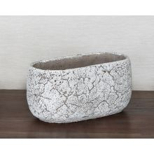 Small Off White Oval Cement Pot