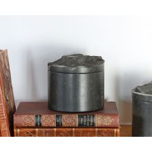 Marble Round Box With Rock Hewn Lid