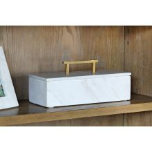 White Marble Box And Lid With Metal Handle