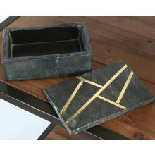 Black Marble & Brass Inlay Box