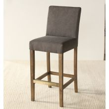 Gray Canvas Bar Stool with Brass Footrail