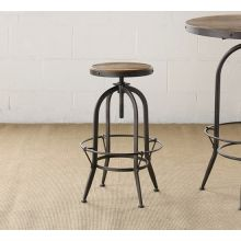 Metal Adjustable Bar Stool with Wooden Seat