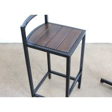 Black Steel and Dark Wood Outdoor Bar Stool