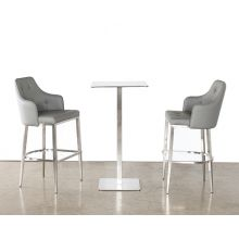 Tufted Mid-Back Bar Stool in Gray Leatherette
