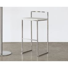 White Leather and Chrome Bar Stool