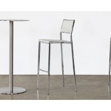 Polished Chrome Bar Stool in White