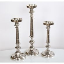 Large Nickel Finish Pillar Candle Holder